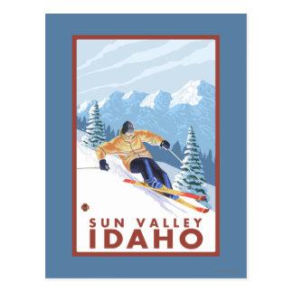 Cartão Postal Esquiador da neve de Downhhill - Sun Valley, Idaho