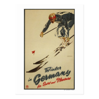 Cartão Postal Esquiador em declive - Promo do esporte e do