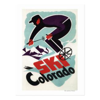 Cartão Postal Esquiador preto e roxo vestido