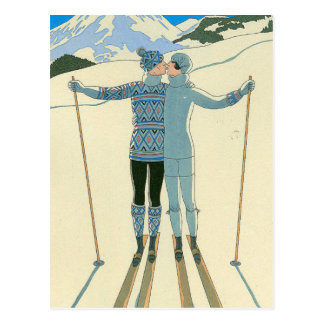 Cartão Postal Esquiadores românticos no azul