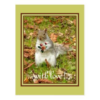Cartão Postal Esquilo com rosas