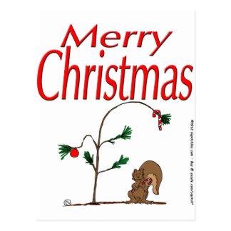 Cartão Postal esquilo do Natal s14 e árvore de Natal humilde