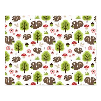 Cartão Postal Esquilo no teste padrão da floresta do carvalho