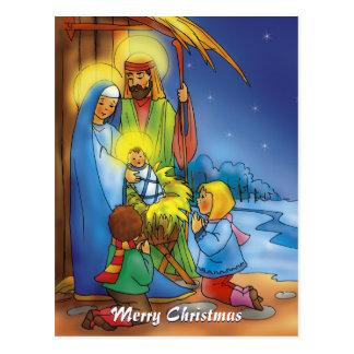 Cartão Postal Estábulo do Natal do Feliz Natal |