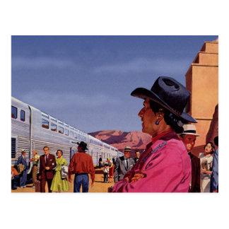 Cartão Postal Estação de caminhos-de-ferro do vintage com