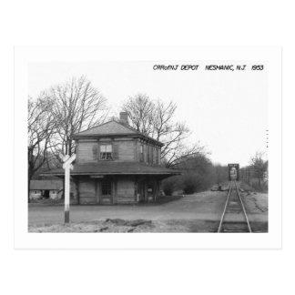 Cartão Postal Estação de caminhos-de-ferro, Neshanic, vintage de