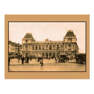 Cartão Postal Estação de estrada de ferro de Bruxelas, horsecar