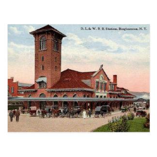 Cartão Postal Estação de estrada de ferro do D.L.W., Binghamton,