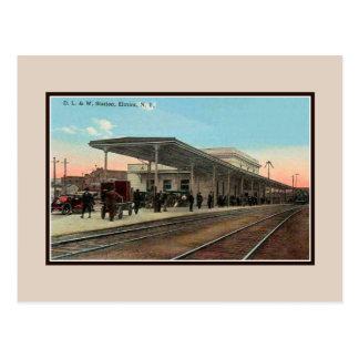 Cartão Postal Estação de estrada de ferro Elmira do vintage Ca