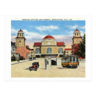 Cartão Postal Estação & metro, vintage de Birmingham, Alabama