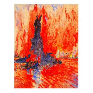 Cartão Postal Estátua da liberdade decapitado com o NYC nas