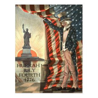 Cartão Postal Estátua da liberdade do tio Sam da bandeira dos