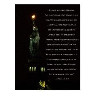 Cartão Postal Estátua da liberdade na noite/poema de Emma