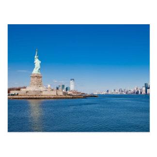 Cartão Postal Estátua da liberdade, Rio Hudson e Manhattan