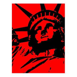 Cartão Postal Estátua da liberdade vermelha do pop art
