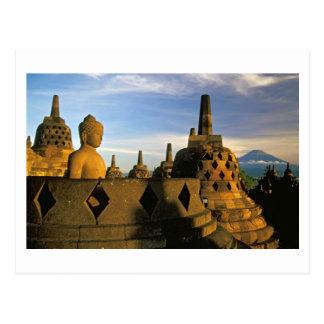 Cartão Postal Estátua de Buddha e Stupas, templo de Borobudur
