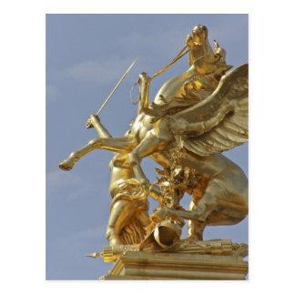 Cartão Postal Estátua de Pegasus na ponte de Pont Alexander III