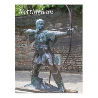 Cartão Postal Estátua de Robin Hood pela foto do castelo de