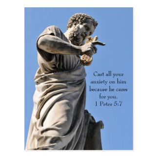 Cartão Postal Estátua de St Peter em Roma, Italia