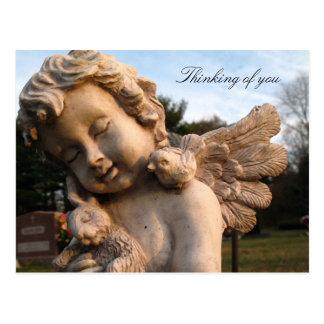Cartão Postal Estátua do anjo que pensa de você