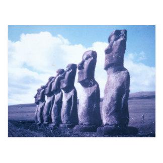 Cartão Postal Estátuas da Ilha de Páscoa