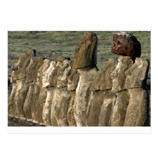 Cartão Postal Estátuas Rapa Nui de Moai (Ilha de Páscoa)