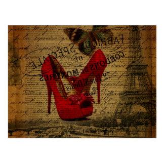 Cartão Postal Estiletes do vermelho do fashionista da torre