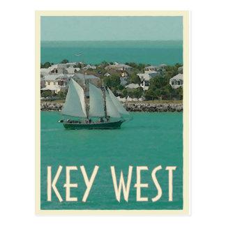 Cartão Postal Estilo do vintage da chave do por do sol de Key