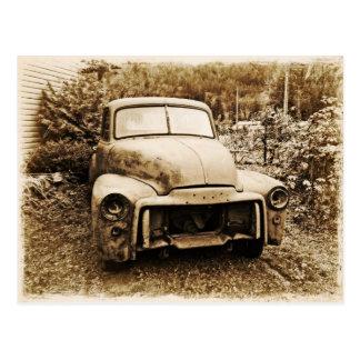 Cartão Postal Estilo velho da foto do caminhão antigo do projeto