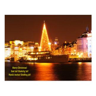 Cartão Postal Éstocolmo, suecia no Natal na noite