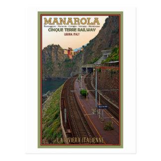 Cartão Postal Estrada de ferro de Cinque Terre - Manarola