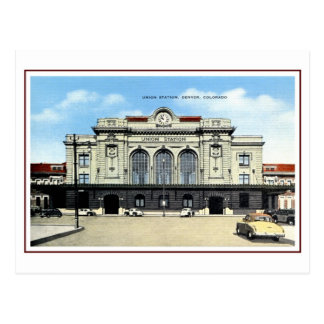 Cartão Postal Estrada de ferro do vintage, estação da união de