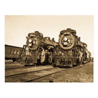 Cartão Postal Estrada de ferro gêmea das locomotivas do vintage