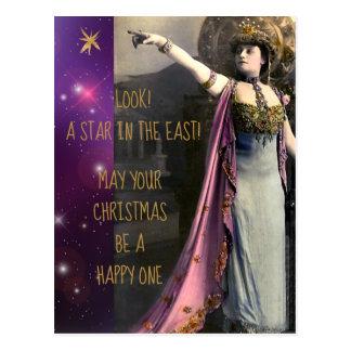 Cartão Postal Estrela da atriz do vintage no Natal do leste