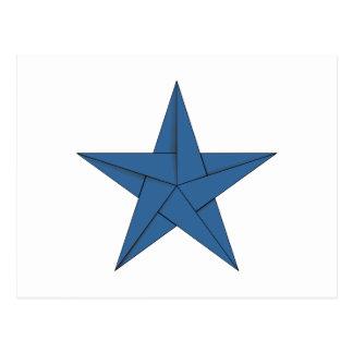 Cartão Postal Estrela de Origami - azul
