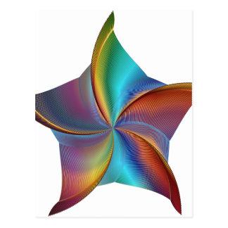 Cartão Postal Estrela de roda de prisma colorido do arco-íris