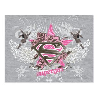 Cartão Postal Estrela e rosas de Supergirl