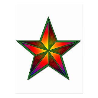 Cartão Postal Estrela verde do Pinwheel