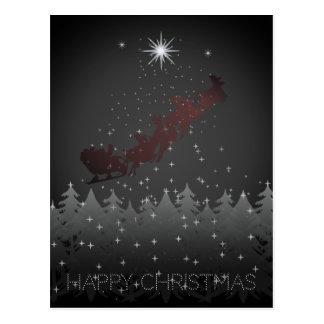 Cartão Postal Estrelas da rena do papai noel do céu nocturno do