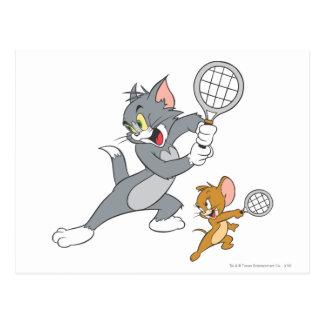 Cartão Postal Estrelas de tênis 1 de Tom e de Jerry