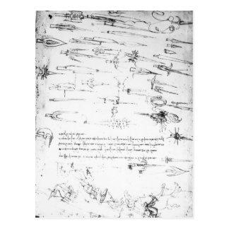 Cartão Postal Estudos dos soldados de infantaria e dos cavaleiro