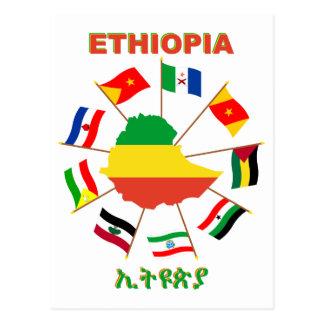 Cartão Postal Etiópia embandeira o Pinwheel com mapa da bandeira