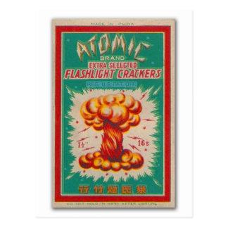 Cartão Postal Etiqueta 'Brand atômico do fogo-de-artifício do