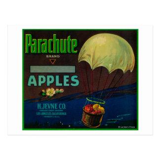 Cartão Postal Etiqueta da caixa de Apple do pára-quedas
