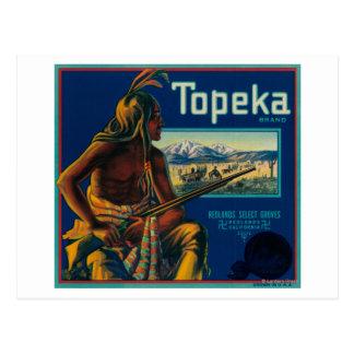 Cartão Postal Etiqueta da caixa do citrino da marca do Topeka