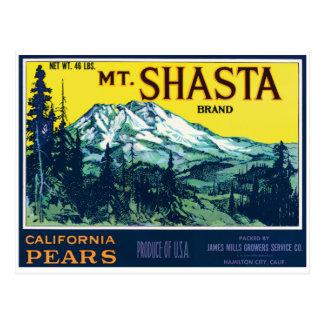 Cartão Postal Etiqueta das peras do Mt Shasta Califórnia do