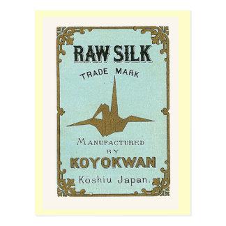 Cartão Postal Etiqueta de seda japonesa do vintage do guindaste