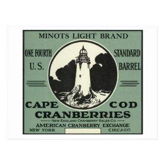 Cartão Postal Etiqueta do arando da marca da luz de Cape Cod