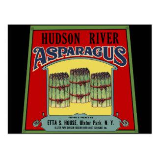 Cartão Postal Etiqueta do aspargo do Rio Hudson
