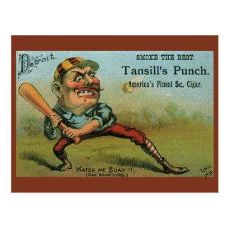 Cartão Postal Etiqueta do charuto do vintage, perfurador de